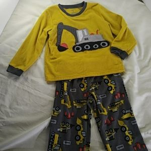 Carter's Fleece Bulldozer Pajamas set